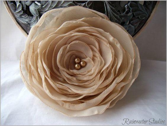 Wedding Hair Flower Creamy Beige RainwaterStudios   $35.00