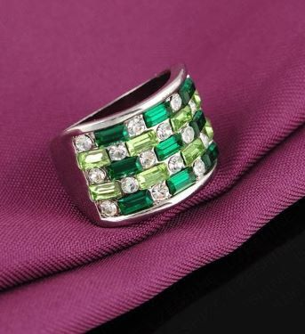 Glorious Wide Band Inlaid with Dark Green and Light Green Austrian Crystal