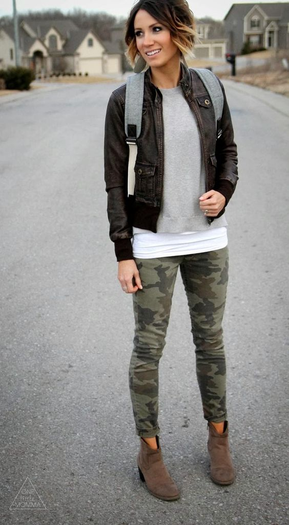 Leather jacket, Everlane backpack and camo skinnies and…