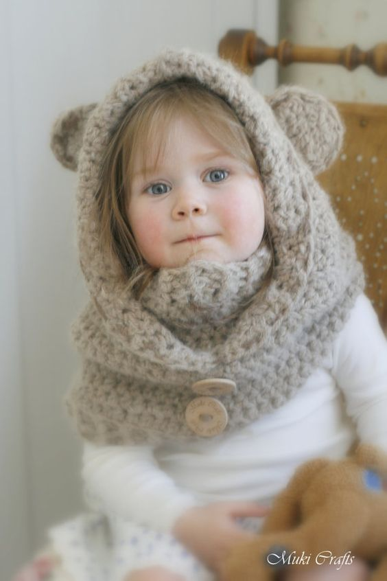 Free Teddy Bear Cowl Crochet Pattern : CROCHET PATTERN bear hooded cowl Jacob with a inner cowl ...
