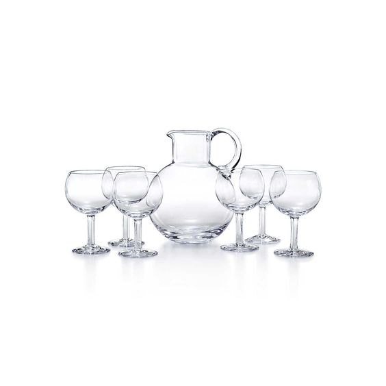 Refresher set in handblown crystal with a pitcher and six glasses. | Tiffany & Co.