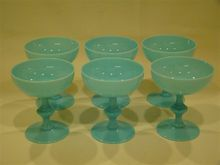French blue opaline Portieux Vallersythal set of goblets