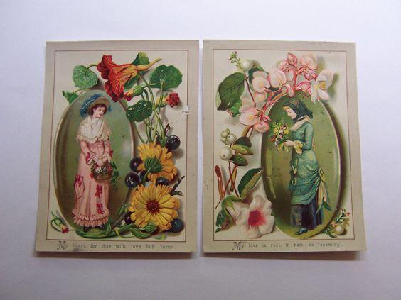2 Victorian Cards Ladies Nasturtium Queens Wreath Old Fashioned Flowers | eBay
