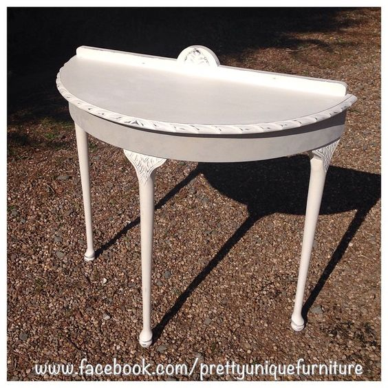 """#ascp #anniesloan #chalkpaint #distressed #distressedfurniture #etsy #forsale #handpainted #instahome #countrygrey #loveit #morethanpaint #oldwhite #parisgrey #paintedfurniture #prettyuniquefurniture #refurbished #shabby #shabbychic #table #demilunetable #upcycled #vintage"" Photo taken by @prettyuniquefurniture on Instagram, pinned via the InstaPin iOS App! http://www.instapinapp.com (03/24/2015)"