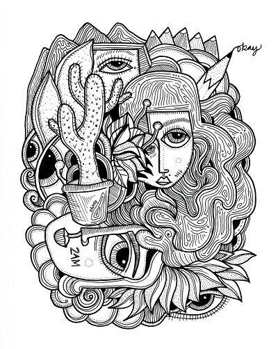 arte por Jody Pham | cool art illustration, dibujos psicodelicos en blanco y negro, ilustraciones femeninas | iconoCero