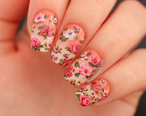 Vintage Gradient Floral Nails - YouTube Tutorial ~ by Lacquerstyle