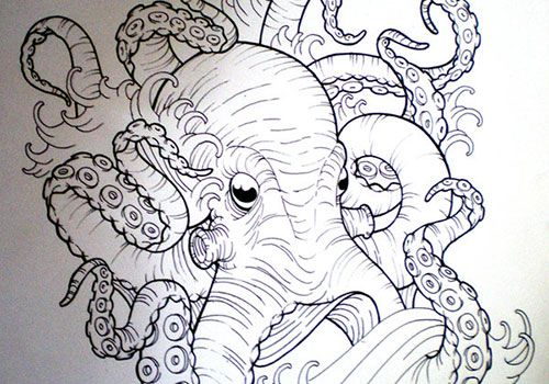 octopus sketches tattoo design Body Art Pinterest Octopus