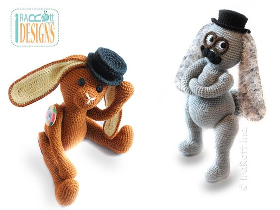 Sam the Steampunk Bunny with Fedora Hat and Mustache Amigurumi Toy PDF Crochet Pattern