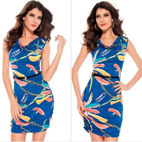 Free Shipping Sheath O-neck Sleeveless Feathers Print Pullover Women Render Dress Women Slim Dress Lady One-piece Dress $25.00