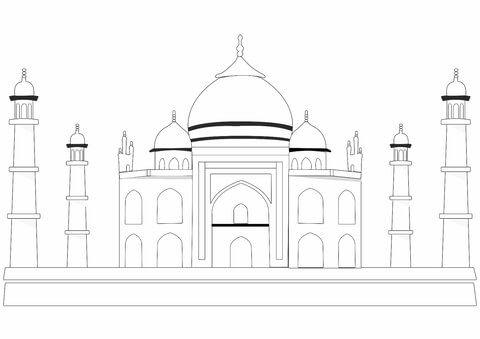 Taj Mahal Coloring Page From India Category Select From 30582 Printable Crafts Of Cartoons Nature Animals Bibl Taj Mahal Drawing Taj Mahal Sketch Taj Mahal