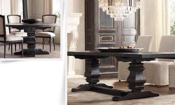Restoration hardware living room trestle salvaged wood for Dining room table extension slides