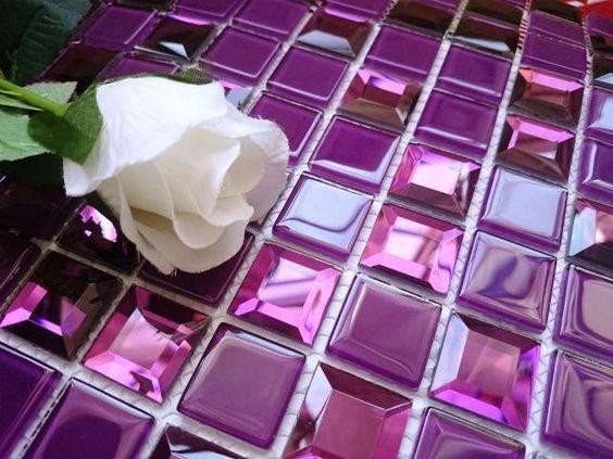LUXURY GLASS MOSAIC TILES PURPLE A128 Bathroom Kitchen Backsplash  PRIMAVERA. LUXURY GLASS MOSAIC TILES PURPLE A128 Bathroom Kitchen Backsplash