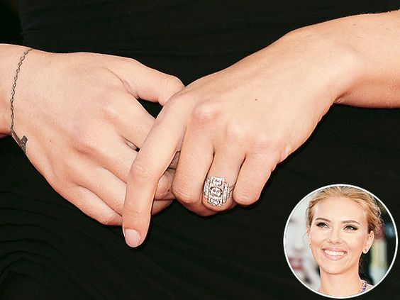 Looks like Art Deco engagement rings are all the rage this year! First Olivia Wilde and Behati Prinsloo, and now Scarlett Johansson! What do you think of this unique trend?