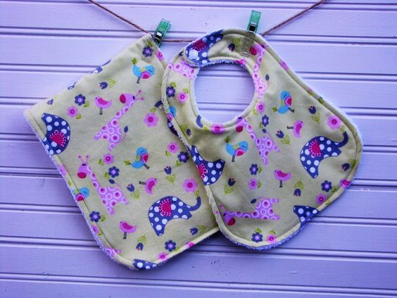 Bib and Burp Cloth Set - Giraffe and Elephant Terry Bib and Burp Cloth Set - Baby Shower Gift by LittleBitBibs on Etsy