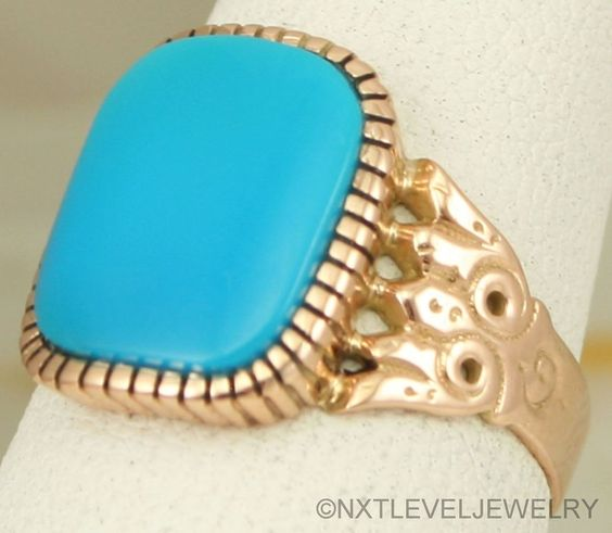 Antique c1890 Ripley Howland Victorian RARE Persian Turquoise 10k Rose Gold Ring