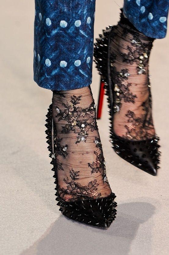 Black sheer socks with random sequin embellishments, black studded Loubs