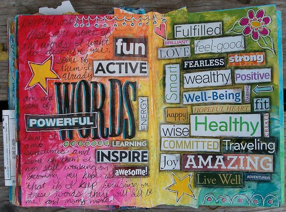 Cut words out of magazines that describe yourself -- use colors that mean something to you for the background