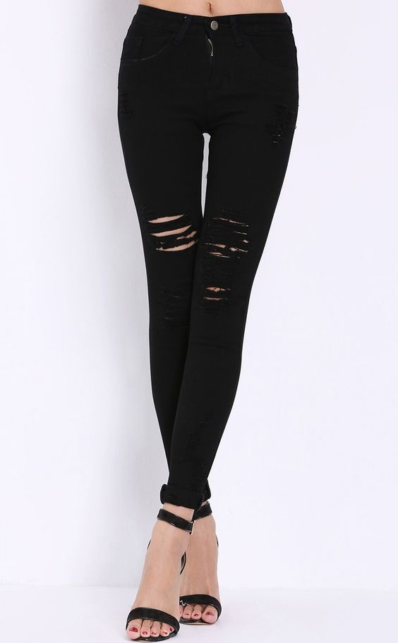 High Waist Ripped Denim Black Pant Stylish Cosy Curved Jeans ...