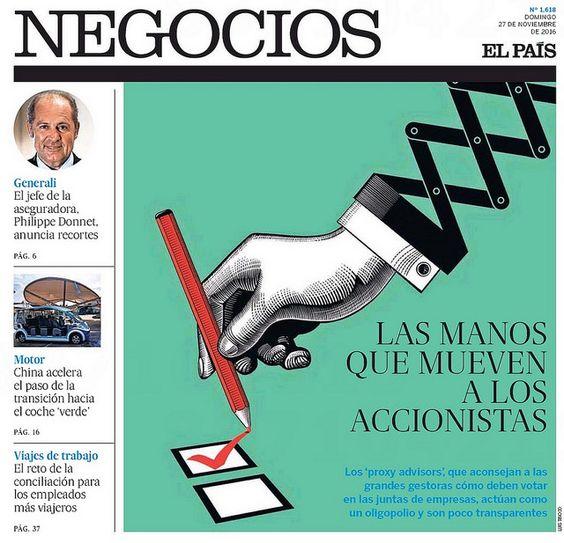 """EL PAÍS - Negocios. """"Las manos que mueven a los accionistas"""". Artículo: David Fernández. Ilustración: Luis Tinoco www.luistinoco.com"""