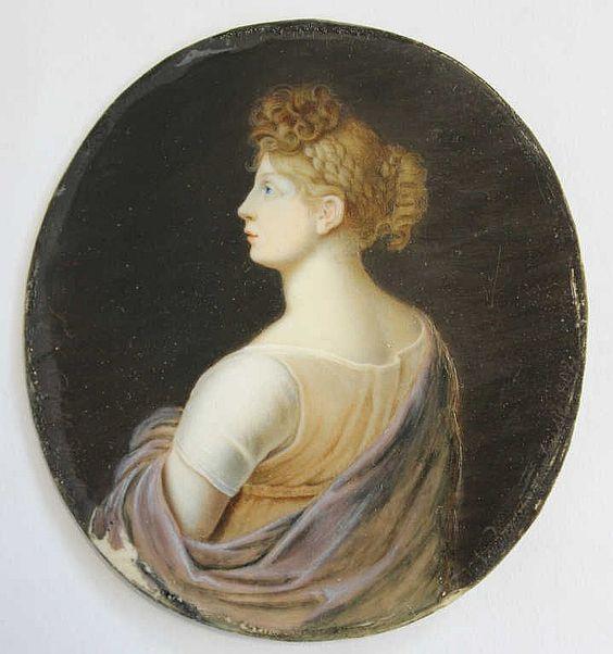 """F. de CALELLI ... ? """"Portrait de femme"""", miniature, peinture sur ivoire, début 19e siècle, signée, 8.7 x 7.5 cm"""