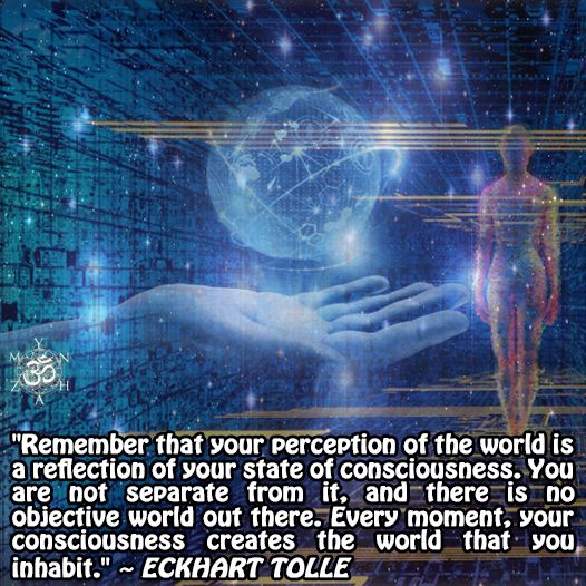 """Remember that your perception of the world is a reflection of your state of consciousness. You are not separate from it, and there is no objective world out there. Every moment, your consciousness creates the world that you inhabit."" ~ Eckhart Tolle"