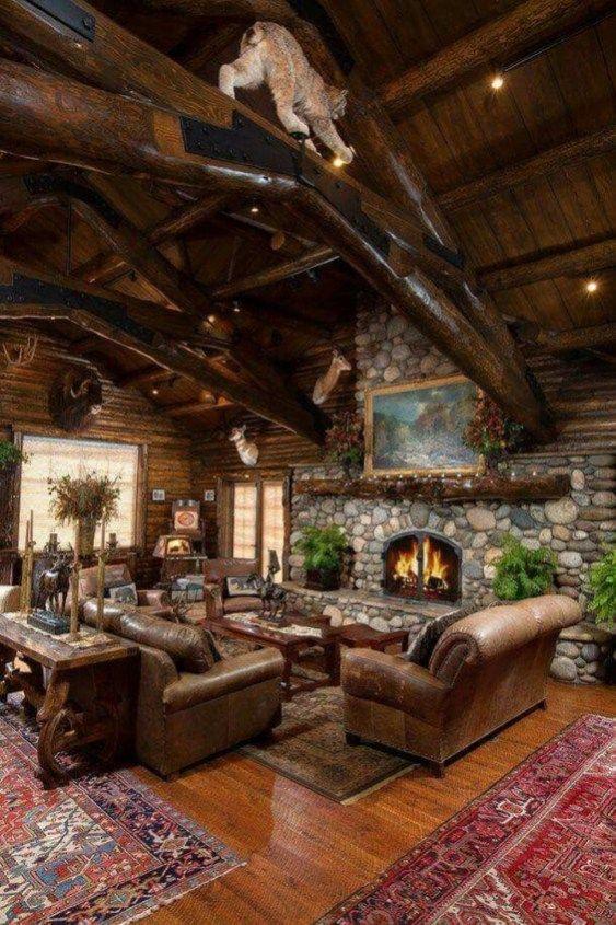 Amazing Lodge Living Room Decorating Ideas 40 Maison En Rondins Maison Rustique Maison Bois