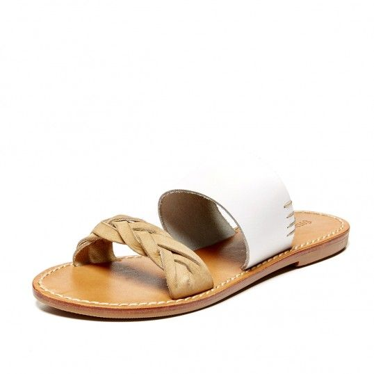 Leather Braided Slide Sandal: