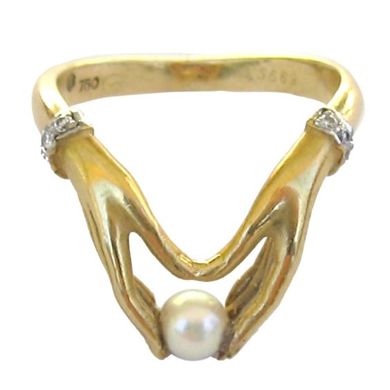 Ladies 18k Gold Ring *hands Holding Pearl* Carrera Y Carrera | From a unique collection of vintage solitaire rings at http://www.1stdibs.com/jewelry/rings/solitaire-rings/
