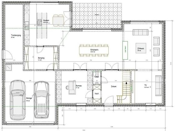 Plattegrond moderne woning google zoeken plattegrond woningen pinterest modern met en - Huis idee ...