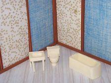 Marx Bathroom Fixture Tub Toilet Sink Lot Vtg Doll House Miniature Item