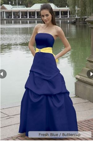 blue with yellow sash bridesmaid dress  bridesmaids dresses ...