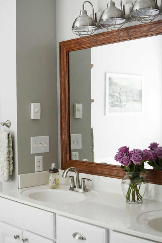 Wood Frame Around Bathroom Mirror Industrial Lighting Paint Color Anew Gray By Sherwin