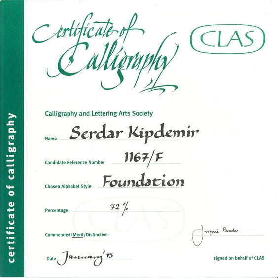 Certificate Of Calligraphy Foundat On Clas Calligraphy