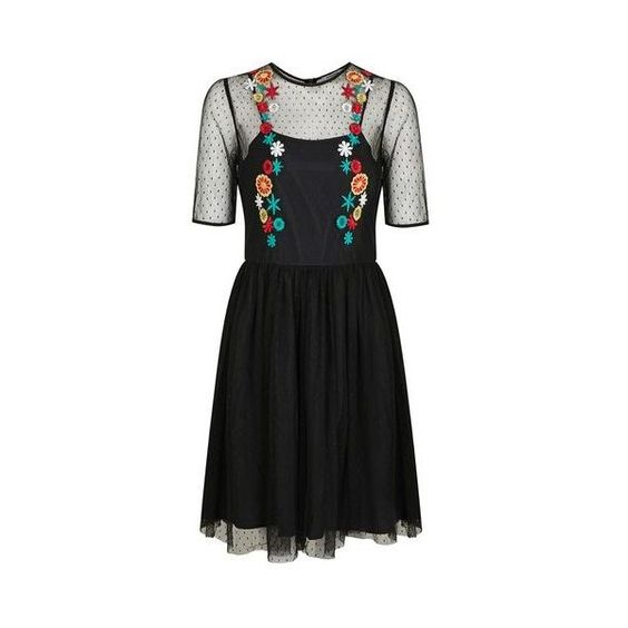 Floral Embroidered Mesh Skater Dress by Glamorous (1090190 BYR) ❤ liked on Polyvore featuring dresses, black, short-sleeve dresses, short-sleeve skater dresses, a line skater dress, skater skirt dress and mesh dress