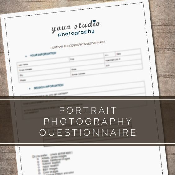 Complete Portrait Photography Questionnaire Form For Photographers - print release form