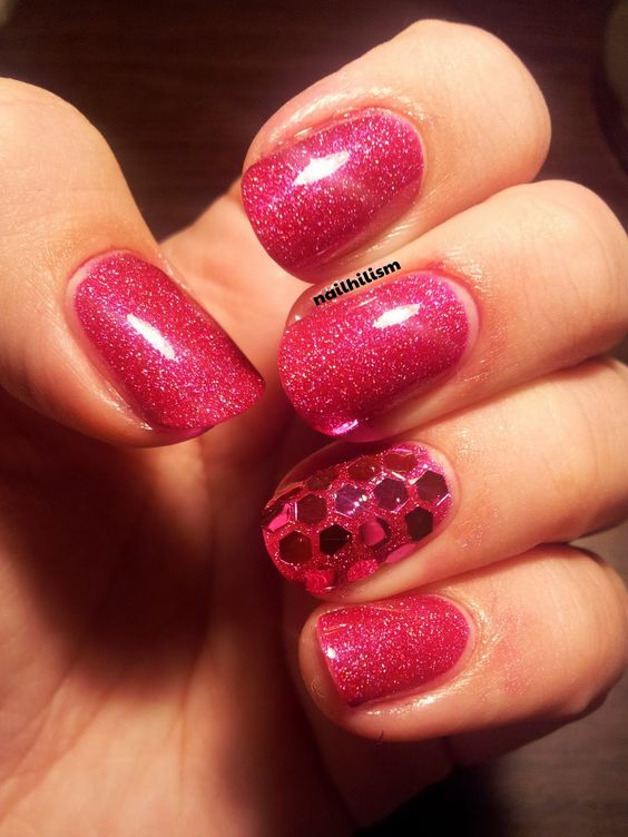 Nailhilism - Hand-placed glitter nail art Orly Miss Conduct pink holo