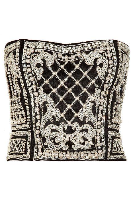 Balmain Embellished stretch-knit bustier top