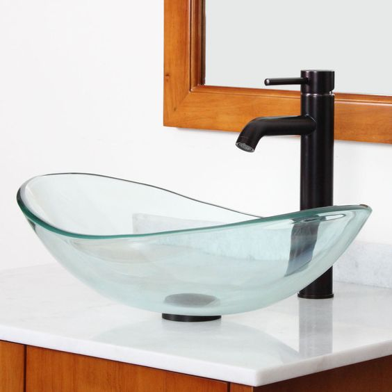 New Bathroom Boat Shape Clear Glass Vessel Sink Oil Rubbed Bronze