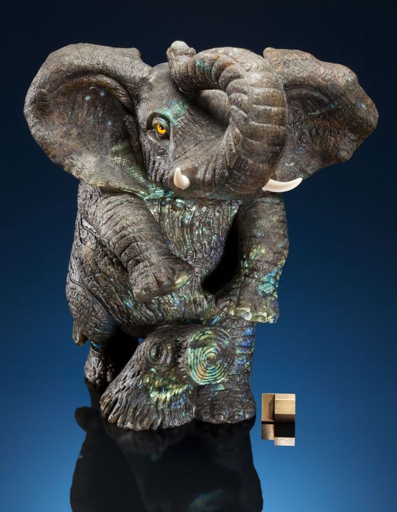 Lapidary art carvings labradorite elephant with bright