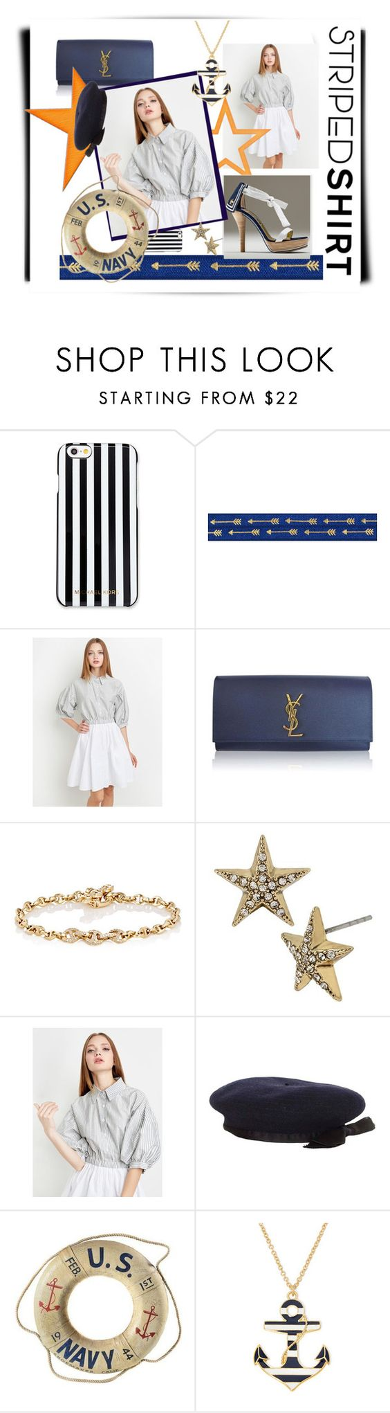 """""""Anchors Away!"""" by spotlight918 ❤ liked on Polyvore featuring MICHAEL Michael Kors, Alberto Guardiani, Yves Saint Laurent, Hoorsenbuhs, Betsey Johnson, Chanel and Liz Claiborne"""