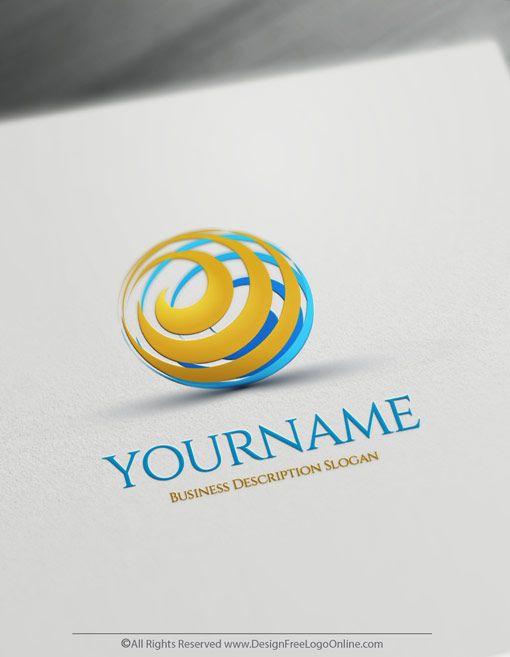 Online Free 3d Logo Maker 3d Spiral Globe Logo Template Logo Design Free Online Logo Logo Design