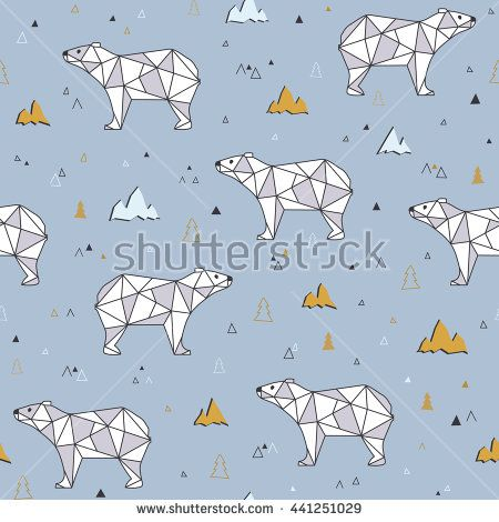 Ornament with bears. Abstract polygonal bear seamless pattern background.  Bears on a background of mountains - stock vector