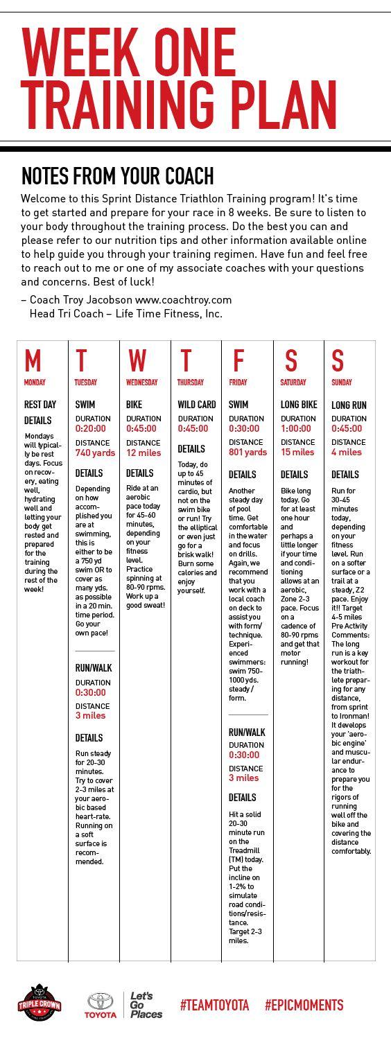 Mike and Jenn's week 1 of 8 triathlon training plan. #MikeandJennJourney #EpicMoments