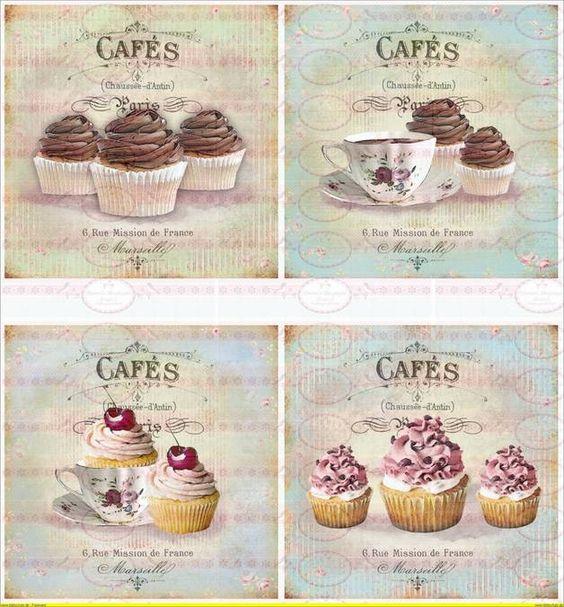 Bügelbilder - Bügelbild Cupcake Cafe french Paris 1460 - ein Designerstück von Doreens-Bastelstube bei DaWanda