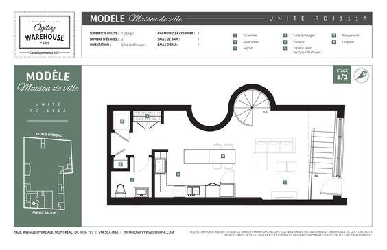 Plan de l'unité RDJ111A, projet de condominiums neufs en plein centre de Montréal Ogilvy Warehouse. 1428, Avenue Overdale, Montréal, QC H3G 2H1. 1/2