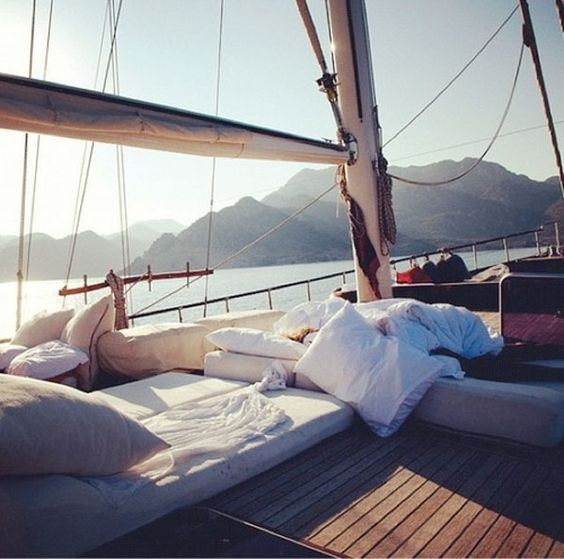 On a sailboat.
