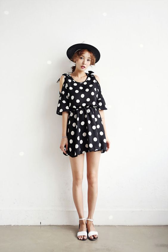 Dot Half Sleeve Dress