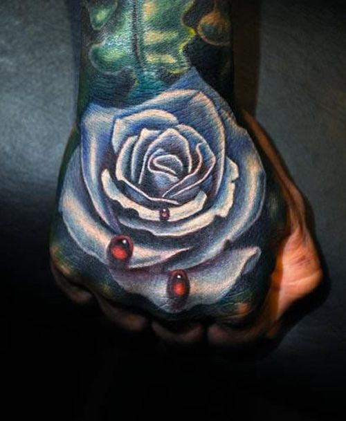 Realistic rose with blood drops hand tattoo hand tattoo for Blood drop tattoo