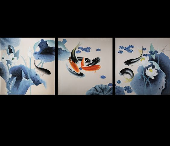 Koi fish painting contemporary art modern wall art d cor for Koi fish paintings prints