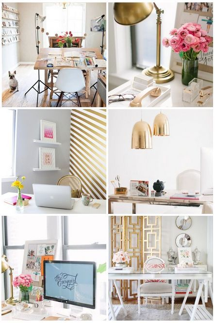 Home office offices and shabby chic homes on pinterest for Chic office ideas